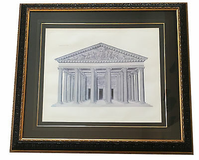 Huge! Framed Roman Pantheon Architectural Rendering Engraving Lithograph