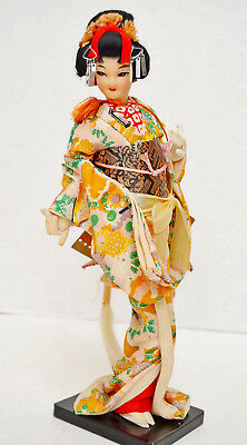 "Vintage Oriental Geisha Doll Hand Made Hand Painted Face 11 1/4"" O.A.A. Japan"
