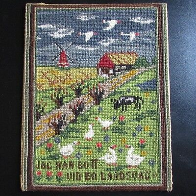 Swedish Needlepoint Sample Country Road Farm Vintage