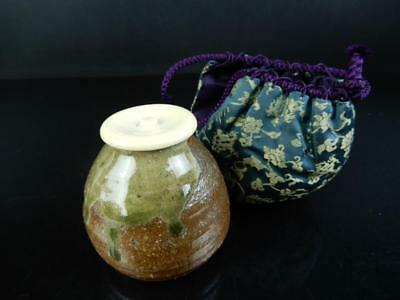 J2748: Japanese Shigaraki-ware TEA CADDY High class lid, Keishu made