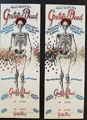 2 Mint condition Grateful Dead New Years Eve unused 1991 tickets. Insequence.