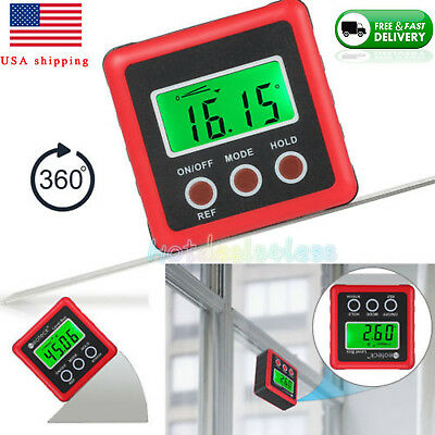 Digital Protractor Angle Cube Gage Electronic Sea Level Magnetic Base Gauge NEW