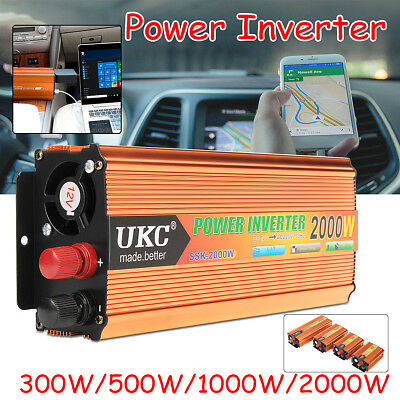 UKC 300-2000W Power Inverter DC12V AC 220V LCD Display Port USB TRASFORMATORE