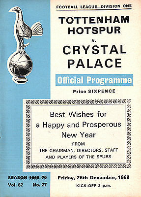 1969/70 Tottenham Hotspur v Crystal Palace, Division 1, PERFECT CONDITION