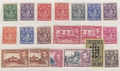 St Lucia KGVI 1938 Extended Set To £1 SG128/141 MH/MNH (Incl £1) X8324