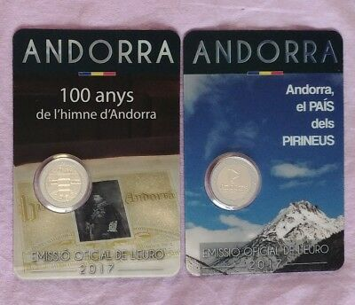 2X2€ Andorra 2017(Country of the Pyrenees +100 Years Anthem Andorra) Pre-Sale