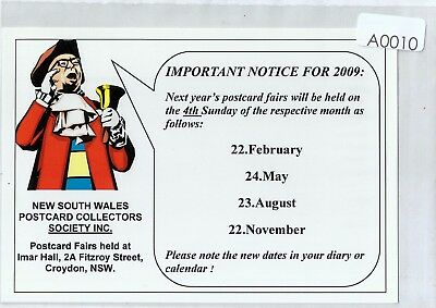 A0010cgt Australia NSW 2009 postcard Collectors Society postcard
