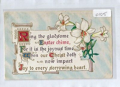 A0105cgt Greetings Easter Chime vintage postcard