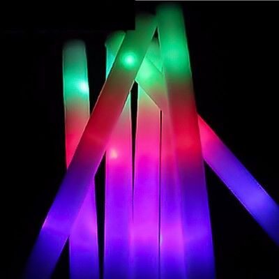 12pcs Light Up LED Foam Stick Wands Rally Rave Batons Party Flashing Glow Sticks
