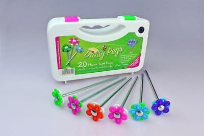 Blue Diamond Daisy Tent Pegs x 20 With Flower Heads + Storage Case & Peg Cleaner