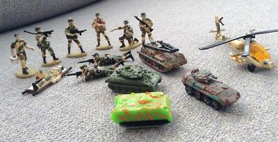 Nine Toy Soldiers,Four Tanks and a Helicopter.
