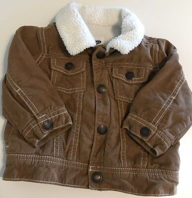 Old Navy Infant Boys Corduroy Jacket Coat Size 6-12 Months Tan Sherpa Lined
