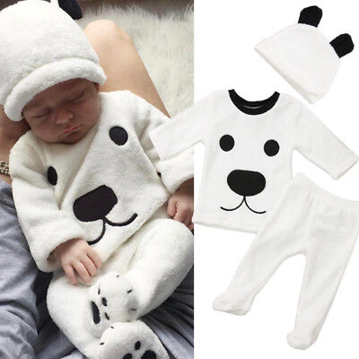 Newborn Baby Girl Boy Fluffy Long Sleeve Top Pants 3Pcs Outfits Set Warm Clothes