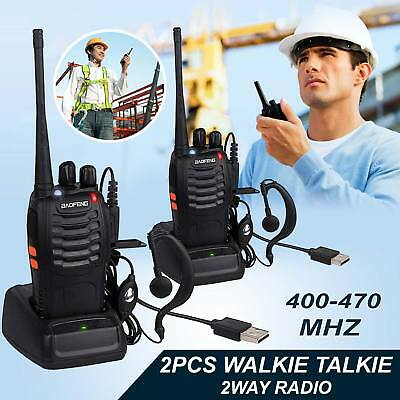 2x Baofeng Walkie Talkies Long Range 2 way 16CH Radio Earpiece UK UHF 400-470MHZ