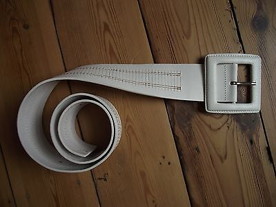 *NEW* JIGSAW wide white belt, made in Italy 6cm width with large buckle MEDIUM
