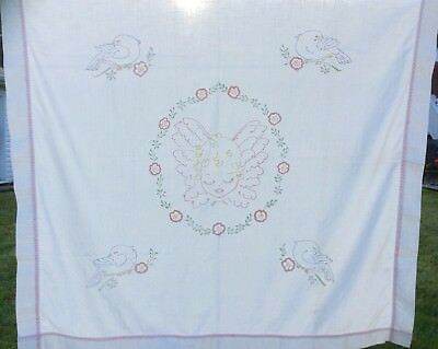 Antique Vintage Pastel Embroidered ANGEL Baby Girl~Birds~Flowers SM Tablecloth