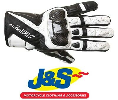 RST Stunt III CE 2123 Short Leather Gloves White Motorcycle NOW ONLY £29.99! J&S