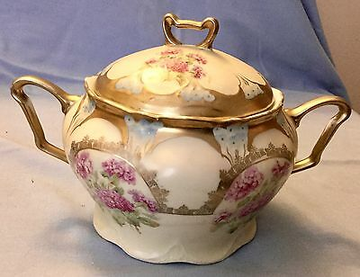 EARLY  THREE CROWN CHINA * GERMANY BISCUT JAR * ROSES and GOLD TRIN * GORGEOUS