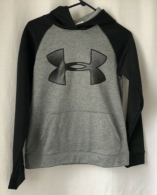 Youth Large Under Armour Gray And Black Hoodie Sweatshirt