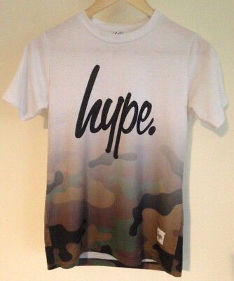 Hype Boys T-Shirt Age 11-12 Years White Fades To Camo