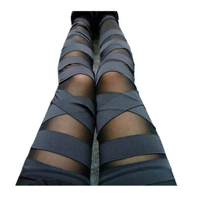 Damen Leggings Netz-Optik Gothik Leggins Treggings Bandage Jeggings Röhre 34-40