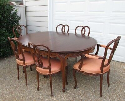 Antique Country French Walnut High Quality Extension Dining Table Set 6 Chairs