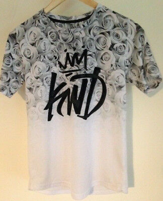 'kings Will Dream' Kwd Junior Boys Age 12-13 Years T-Shirt White With Grey Roses