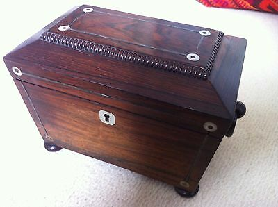 Late Victorian/Edwardian Mahogany Tea Caddy with Mother of Pearl Inlay