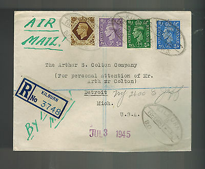 1945 Kilburn England Registered COmmercial COver to USA E K Moessmer