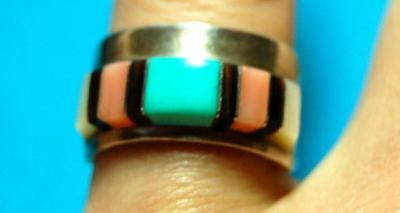 Martin Ester  Panteah Zuni Sterling Silver Turquoise Coral Inlaid Ring Size 7