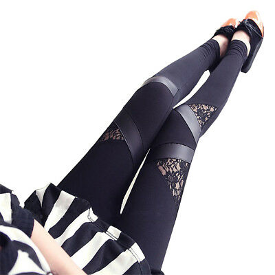 Damen Leggings Netz-Optik Spitze Gothik Kunstleder Treggings Jeggings Röhre