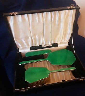 Vintage boxed Green Enamel Three Piece Brush Set - Silver plate