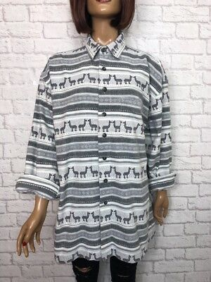 ❤️ Vintage UNISEX 90's White Grey Inca Print Thick Western Long Sleeve Shirt