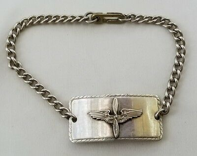 Wwii U.s. Air Force Pilot Wings Sterling Silver Id Bracelet Cdce. Inc. Chicago