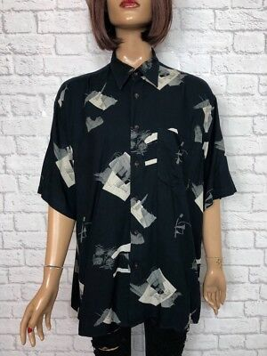 ❤️ Vintage UNISEX 90's Black Grey Abstract Hipster Oversize Blogger Shirt