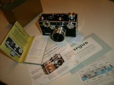 Vintage Argus Brick C3 Colormatic 35mm Film Camera, Box and Manual.