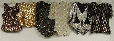 Lot of 29 Vintage 80s  Sequin Blouse Beaded Top Shirt New Years NYE Sparkle Glam
