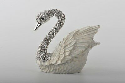 Swan Faberge trinket box hand made by Keren Kopal with Austrian crystals