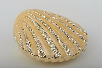 Shell Faberge trinket box  hand made by Keren Kopal with Austrian crystals