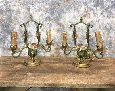 2 Brass Sconces Lamps Light Fixtures Vintage Art Deco Nouveau Floral Decor