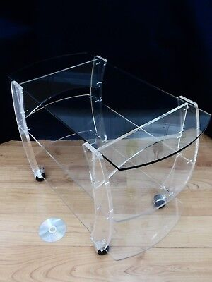 70s/80s CLEAR PERSPEX TEA TROLLEY, Vintage GLASS TABLE TOP, Retro DRINKS SERVER