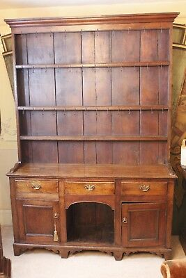 Antique George III 18th Century Planked Oak Dresser with integral 'Dog Kennel'