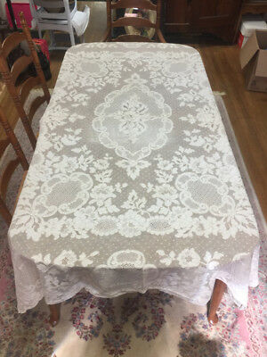 """Antique Ivory French Lace 70"""" x 90"""" Tablecloth Place Mats & 11 Napkins"""