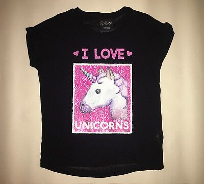 Girls Two Way Sequin Unicorn Top T-shirt Age 4-5 Years Black Pink