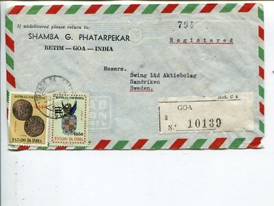 Portugese India reg air mail cover to Sweden 1961