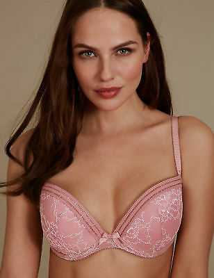 New Marks & Spencer M&S Lace Collection Padded Push-Up Balcony Pink Bra 32 A