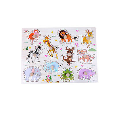 Animals Wooden Jigsaw Children Kids Baby Learning Educational Puzzle Toy GE