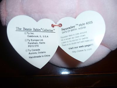 RARE 1993 SQUEALER Style 4005, with error in poem, PVC pellets