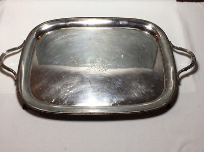 """Large 28"""" Sheffield Silver Copper Handled Footed Tray MATTHEW BOULTON Lion Crest"""