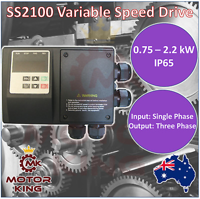 Single Phase 0.75 1.5 2.2 kW VSD VFD Variable Speed Drive IP65 Water Resistant